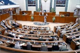 "A general view shows the first session of the newly elected parliament 19 July 2003 in Kuwait City. ""I am confident that each one of you will use every possible effort to serve this country,"" a stooped Sheikh Jaber al-Sabah said in a short, halting speech to the 50-seat National Assembly, which was elected in July 05 polls."