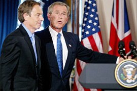 "F_US President George W. Bush (R) has a joint press conference with British Prime Minister Tony Blair in the Cross Hall of the White House 17 July, 2003 in Washington, DC. The Iraq war allies are facing mounting criticism from both their countries over bad intelligence before the war. Blair maintained the accuracy of British intelligence on Iraq's purchase of nuclear material from Niger, saying ""we know for sure"" that it bought 270 tons of the material from the African country in the 1980s.   TIM SLOAN / AFP PHOTO"