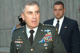afp – US General John Abizaid, the new head of the Central Command for Iraq arrives in Ankara, 18 July 2003 for talks with Turkish leaders en route to Iraq.