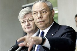 afp – German Foreign Minister Joschka Fischer (L) and US Secretary of State Colin Powell speak to reporters 16 July, 2003