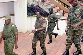 Guinea-Bissau army chief General Verissimo Seabra Correia (2ndL), who overthrew Yala and proclaimed himself Guinea-Bissau's interim leader arrives with his collaborators (no names available) to a meeting of Guinea-Bissau's central commanders in Bissau 16 September 2003. A delegation of west African foreign ministers met 16 September with military leaders who seized power in Guinea-Bissau at the week-end, a regional official said. AFP/PHOTO SEYLLOU