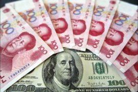 f_Chinese currency 100 Renminbi notes with its near