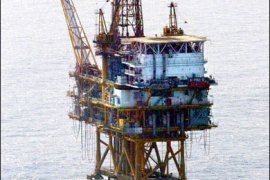 f/Photo dated 22 April 2003 shows an oil platform at East China Sea.