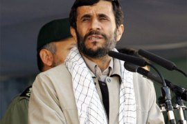 Iranian President Mahmoud Ahmadinejad delivers a speech to members of the Basij militia as they mark the 25-years of its foundation by Ayatollah Ruhollah Khomeini in Tehran, 26 November 2005.