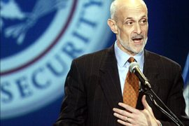 r_U.S. Secretary of Homeland Security Michael Chertoff addresses invited supporters at the George