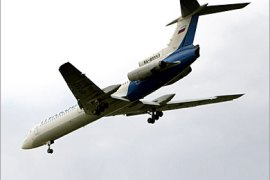 AFP –  A picture taken 29 July 2006, shows, Russian Tupolev 154 airliner, belonging to the Russian airline Pulkovo, shortly before landing at the airport in Saint Petersburg. A Russian