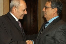 afp – Lebanese parliament speaker Nabih Berri (L) greets Arab League secretary general Amr Mussa in Beirut 03 December 2006