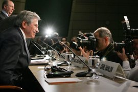 World Bank President Paul Wolfowitz participates in the Development Committee press conference at the IMF/World Bank Meetings 15 April, 2007
