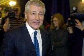 r/Senator Chuck Hagel (R-NE) leaves a news conference in Omaha, Nebraska in this March 12, 2007 file photo. Hagel, a harsh critic of the Iraq war
