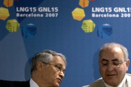 epa00994128 Algeria's Minister for Energy and Mines, Chakib Khelil (L) and Sonatrach President Abdelhafid Feghouli attend a press conference as part of the 15th Liquefied natural gas (LNG) congress in Barcelona, Spain, 27 April 2007. The next congress will be held in Algeria in 2010.