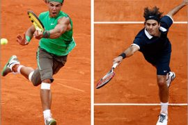 REUTERS/A combination photo shows Spain's Rafael Nadal (L) and Switzerland's Roger Federer in action during this year's French Open tennis