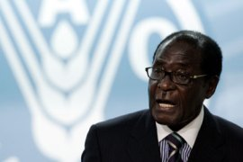 AFP/ Zimbabwean President  Robert Mugabe adresses a speech during three-day summit on food security at UN Food and Agriculture Organisation (FAO) in Rome on June 3, 2008.