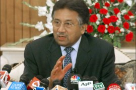 afp : Pakistani President Pervez Musharraf gestures as he speaks with media representatives in Islamabad on June 7, 2008. Musharraf dismissed speculation he was going to