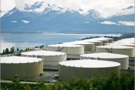 REUTERS/  A field of 14 storage tanks that each hold 510,000bbls of oil can be seen at the Trans-Alaska Pipeline Marine Terminal in Valdez, Alaska on August 8, 2008.  REUTERS/Lucas