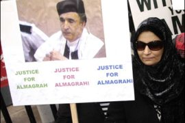 f/Aisha Al Megrahi, wife of convicted Lockerbie bomber Libyan Abdelbaset Ali Mohmet al-Megrahi joins a silent march to the Scottish Parliament to highlight alleged miscarriages of justice, in Edinburgh, on December 4, 2008.