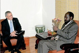 afp : Sudanese First Vice President, Salva Kiir (R), meets with US envoy to Sudan Scott Gration in Khartoum on May 7, 2009. Gration is on an official visit to Sudan to discuss peace