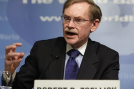 World Bank President Robert Zoellick speaks at the opening news conference of the spring International Monetary Fund-World Bank meeting at the IMF headquarters building