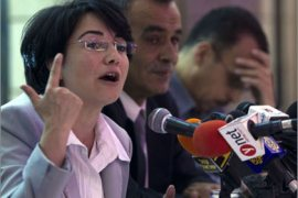 Israeli Knesset Member Hanin Zoabi (L), who was on board the Marmara ship when it was raided by Israeli Navy fighters, hold a press conference in Nazareth on June 01,2010, in which she accused Israel of committing crimes during its take over of the Gaza-bound