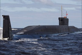 r_The Yuri Dolgoruky, a Russian nuclear submarine, is seen in the waters off Severodvinsk in this July 2, 2009 file photo. The submarine, slated to carry Russia's next generation