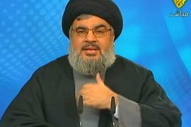 An image grab taken from the Hezbollah-run Manar TV shows Lebanon's Hezbollah chief Hassan Nasrallah delivering a speech via closed-circuit video from an undisclosed location on Janury 23, 2011