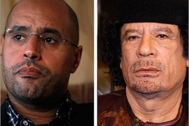 A combination photo shows Saif al-Islam (L) during an interview with Reuters in Tripoli March 10, 2011, and his father Libyan leader Muammar Gaddafi in Damascus March 29, 2008. The International Criminal Court (ICC) issued arrest warrants on June 27, 2011, for Gaddafi, his son al-Islam and the country's spy chief, Abdullah al-Senussi, on charges of crimes against humanity.