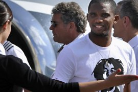 "TOPSHOTSCameroon football star Samuel Eto'o is welcomed upon arrival at Vnukovo airport in Moscow on August 25, 2011. Samuel Eto'o arrived today after signing a three-year deal with Russia's new big spenders Anzhi Makhachkala that will reportedly be the most valuable contract in football. ""This evening, Inter Milan striker Samuel Eto'o signed a personal three-year contract with Anzhi Makhachkala,"" the club said in a statement issued after Eto'o completed a medical on Wednesday evening. AFP PHO"