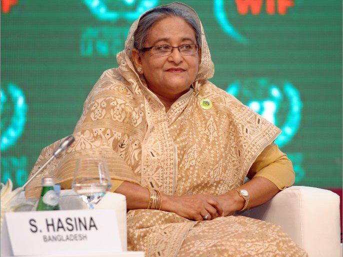 epa03190710 Sheikh Hasina, Prime Minister of Bangladesh attends the plenary session of the World Investment Forum 2012 at Qatar National Convention Centre Doha-Qatar on 21 April 2012. The World Investment Forum (WIF) is a high-level, biennial, multi-stakeholder gathering that is designed to facilitate dialogue and action on the world's key emerging investment-related challenges.  EPA/STRINGER
