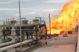 epa02564963 A view showing huge flames erupting from a blast at Egyptian gas pipeline supplying Israel and Jordan in Al-Arish, Egypt, 05 February 2011. An explosion occurred Saturday at an Egyptian pumping station in the Sinai Peninsula supplying natural gas to Israel and Jordan. Egyptian state television said the explosion was a 'terrorist operation' and blamed 'saboteurs' for the incident, saying they had taken advantage of the country's ongoing political unrest.  EPA