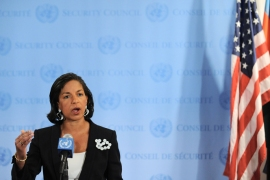 Susan Rice, US Ambassador to the United Nations, speaks to the media outside Security Council chambers April 2, 2012 after a closed-door meeting on Syria at UN headquarters in New York. AFP