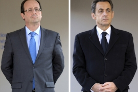 A combination of two pictures shows France's incumbent president and Union for a Popular Movement (UMP) party candidate for the French 2012 presidential election Nicolas Sarkozy (R) and Socialist Party candidate (PS) Francois Hollande (L), attending a ceremony to mark the mass killing of Armenians by Ottoman Turks 97 years ago on April 24, 2012 in Paris. Nicolas Sarkozy and Socialist rival Francois Hollande stepped up their battle Tuesday for the six million votes that went to the far right in the first round of France's presidential election.  Hollande won Sunday's first round with 28.6 percent of the vote over 27.2 percent for Sarkozy and the two will square off in a final round on May 6 that opinion polls say the Socialist will win. AFP
