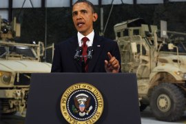 US President Barack Obama delivers an address to the American people on US policy and the war in Afghanistan during his visit to Bagram Air Base May 2, 2012 in Afghanistan. Obama told Americans the goal of defeating the Al-Qaeda network was within reach, more than a decade after the September 11 attacks. AFP PHOTO