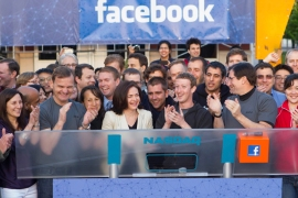Facebook Chief Executive Mark Zuckerberg celebrates after remotely ringing the Nasdaq's opening bell in Menlo Park, California, in this May 18, 2012 handout photo courtesy of Facebook. Investors are bracing for Facebook's Wall Street debut on Friday after the world's No.1 online social network raised about $16 billion in one of the biggest initial public offerings in U.S. history. REUTERS