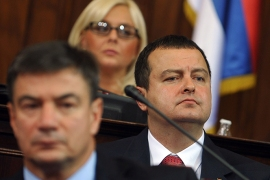 Prime minister-designate Ivica Dacic looks on at the Serbian National assembly building during of a parliament session in Belgrade on July 26, 2012.   AFP