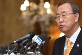 "UN Secretary General Ban Ki-moon speaks during a press conference on April 9, 2013 at a hotel in Rome. Ban Ki-Moon warned Tuesday that a small incident could provoke an ""uncontrollable"" situation on the Korean peninsula"