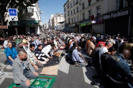 Muslims living in Paris, pray on the Rue des Poissoniers, Barbes neighborhood, in Paris, France, 10 September 2010, on the first day of Eid Al-Fitr, the feast which marks the end of the Muslim holy month of Ramadan. Street prayers, though not compliant with French laws, are tolerated on grounds that the nearby mosque cannot hold the number of those attending. Non-Muslim neighbours nevertheless complain they cannot walk free from and to their homes during prayers. EPA/LUCAS DOLEGA