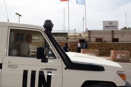 An UN vehicle drives past the headquarters of the United Nations Mission for the Referendum in Western Sahara (MINURSO) on May 13, 2013 in Laayoune, the main city in the disputed territory. Six Sahrawi activists arrested this month after pro-independence protests in Western Sahara said they were tortured by Moroccan police and made to sign confessions, Amnesty International charged on May 16. The Western Sahara is a highly sensitive subject in Morocco, which annexed the former Spanish colony in 1975 in a move never recognised by the international community.   AFP PHOTO /FADEL SENNA