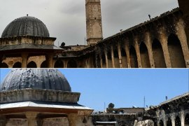 (FILES) A combo of file pictures shows the minaret (top) of Aleppo's ancient Umayyad mosque, in the UNESCO-listed northern Syrian city, on April 16, 2013, and the rubble (bottom) after it was blown up on April 24.  UNESCO on June 20, 2013 added six ancient sites in Syria including a fortress of Saladin and a Crusader castle to the endangered World Heritage list, warning that more than two years of civil war had inflicted heavy damage.    AFP PHOTO / FILES / DIMITAR DILKOFF / JALAL AL-HALABI