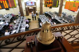 A general view of the Egyptian stock exchange in Cairo August 18, 2013. Egypt's stock market fell sharply on Sunday as it resumed trading after hundreds of people were killed in a crackdown by the army-backed government on supporters of the Muslim Brotherhood. Banks and the stock market reopened for the first time since Wednesday's carnage, with shares rapidly falling 2.5 percent.   REUTERS/Louafi Larbi (EGYPT – Tags: POLITICS CIVIL UNREST BUSINESS)