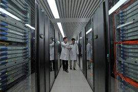 epa02417772 epa02417770 A picture made available on 29 October 2010 shows engineers working on the Tianhe-1A supercomputer at the National Center for Supercomputing in north China's Tianjin Municipality, 29 October 2010. China disclosed on 28 October that the capacity of the supercomputer had been expanded to 2.507 petaflops, the equivalent of 2,507 trillion calculations, per second to be the world's fastest computer, taking over the top place long held by the United States. EPA/GENO ZHOU EPA/GENO ZHOU