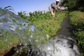 A Sudanese farmer prepares his land for irrigation on the banks of the river Nile in Khartoum. Reuters