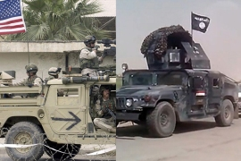 "A combination made on June 14, 2014 of a file picture (L) taken on 18 April, 2003 (L) and a file image grab taken from a video uploaded on the jihadist Youtube account Harith on June 12, 2014 (R) shows US soldiers patrol near the airport of the Iraqi city of Mosul and allegedly captured Iraqi security forces vehicles mounted with the trademark Jihadists flag driving along a road in the same city of Mosul. Four years after US forces withdrew from Iraq and eight years after they had overthrown Iraqi dictator Saddam Hussein, the country faces a large offensive spearheaded by jihadist militants. AFP PHOTO / HO / JOSEPH BARRAK === RESTRICTED TO EDITORIAL USE – MANDATORY CREDIT ""AFP PHOTO / HO / JOSEPH BARRAK"" – NO MARKETING NO ADVERTISING CAMPAIGNS – DISTRIBUTED AS A SERVICE TO CLIENTS FROM FROM ALTERNATIVE SOURCES, AFP"
