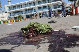 A piece of cloth lies in a pool of blood outside a UN-operated school after an Israeli attack in Beit Hanun town, northern Gaza strip, 24 July 2014. At least 16 Palestinians were killed, among them seven children, and some 200 injured when an UN-operated school north of Gaza City was struck by Israeli tank shells, the Gaza Health Ministry said. Witnesses, who were in the school run by the United Nations for Relief and Work Agency (UNRWA), said Israeli tanks fired four shells at the school.