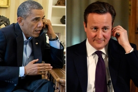 US President Barack Obama on the phone with British Prime Minister David Cameron