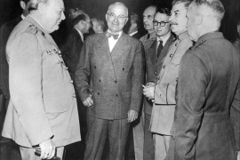 epa03809422 (FILE) A file photo dated 17 July 1945 shows (from L) British premier Winston Churchill (L), US President Harry Truman (2-L) and Russian leader Joseph Stalin (2-R) at the Potsdam conference, Germany. Reports state on 31 July 2013 that Brompton Road tube station, in central London, which is currently owned by the Ministry of Defense (MoD), is to be sold. The building, currently owned by the Ministry of Defense (MoD), used to be Winston  Churchill's command centre during WWII. The MoD is now selling the disused station hoping to gather 60 million pounds (69 million euros) for the British troops in the frontline. The building is currently home to the London University Air Squadron, the London University Royal Naval Unit, and 46F Squadron Air Training Corps.  EPA/STR BLACK AND WHITE ONLY