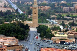 An aerial view taken September 29, 2001 shows Jamaa El Fna square and the Koutoubia mosque of Marrakesh. A powerful blast killed 14 people and injured 20, including several tourists, in a cafe in the Moroccan city of Marrakesh on April 28, 2011 authorities said, describing it as a 'criminal act'.'The casualties include people of various nationalities and reports seem to indicate that it was a criminal act,' an official said. An interior ministry official confirmed the report and said an investigation was under way to shed more light on the blast which occurred on Jamaa El Fna Square, a favourite spot for foreign visitors, in central Marrakesh.