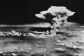 "In this handout picture released by the U.S. Army, a mushroom cloud billows about one hour after a nuclear bomb was detonated above Hiroshima, Japan on Aug. 6, 1945. Japanese officials say a 93-year-old Japanese man has become the first person certified as a survivor of both U.S. atomic bombings at the end of World War II. City officials said Tsutomu Yamaguchi had already been a certified ""hibakusha,"" or radiation survivor, of the Aug. 9, 1945, atomic bombing in Nagasaki, but has now been confirmed as surviving the attack on Hiroshima three days earlier as well."