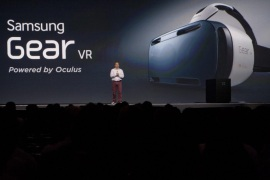 Samsung's virtual reality headset smartphone is being introduced at the Samsung Developer Conference in San Fransisco, California, 12 November 2014.  EPA/TONHAP SOUTH KOREA OUT