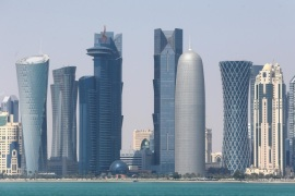 DOHA, QATAR – FEBRUARY 20:  A general view of the Qatar skyline on February 20, 2014 in Doha, Qatar. The Prince is on a three day solo visit to Qatar following a short visit to Saudi Arabia.