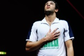 LONDON, ENGLAND – JANUARY 13:  Ramy Ashour of Egypt celebrates winning his match during the match between Ramy Ashour of Egypt and Alister Walker of England during day three of the ATCO PSA World Series Squash Finals at Queens Club on January 13, 2011 in London, England.