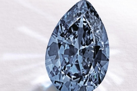 "In this image provided by Sotheby's shows a Fancy Vivid Blue pear-shaped diamond from the estate of Rachel ""Bunny"" Mellon which sold Thursday Nov. 20, 2014 for $32.6 million. It's an auction record for any blue diamond. It was sold to an anonymous Hong Kong collector. (AP Photo/Sotheby)"